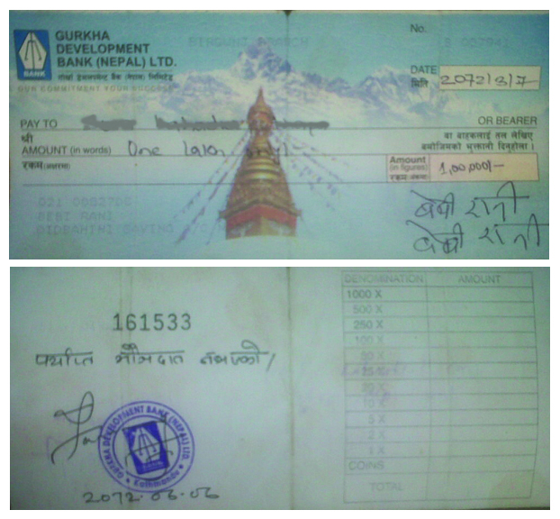 Cheque Front and back